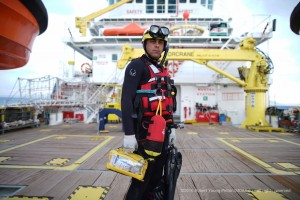 "Ripley Davenport is one of two volunteer rescue swimmers on board the MOAS ship ""Responder"". The swimmers are trained to dive into frigid water to safely rescue people who may have fallen overboard or on a sinking vessel."