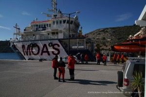The Swedish Search and Rescue volunteers inspect the MOAS ship Responder in Agathonisi harbor. NGO's in the region work closely together with the Greek authorities to deal with the non stop flow of refugees and casualties