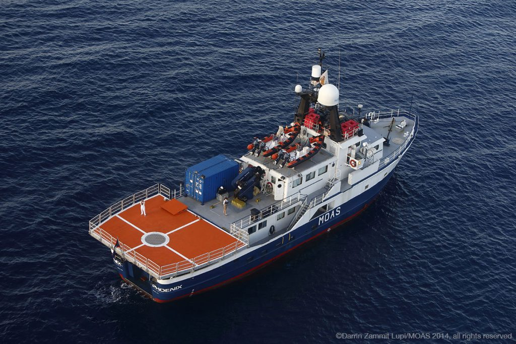 The MOAS rescue vessel, Phoenix, sails into the Mediterranean Sea on its first lifesaving mission in 2014.