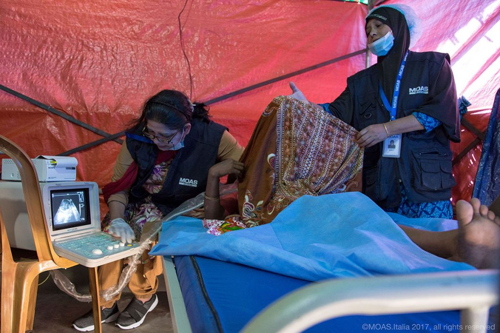 A pregnant Rohingya woman undergoes a scan at the MOAS Aid Station in Shamlapur.